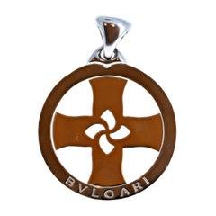 Bvlgari Bulgari Tondo Cross 18k Yellow Gold & Stainless Steel Pendant 24.1g