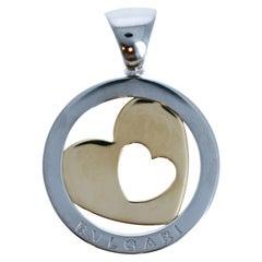 Bvlgari Bulgari Tondo Heart 18k Yellow Gold & Stainless Steel Pendant 11.3g