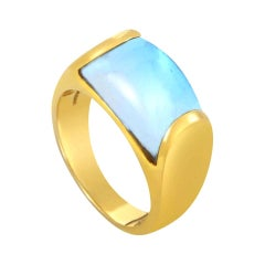 Bvlgari Bulgari Tronchetto 18 Karat Yellow Gold Blue Topaz Ring with Box