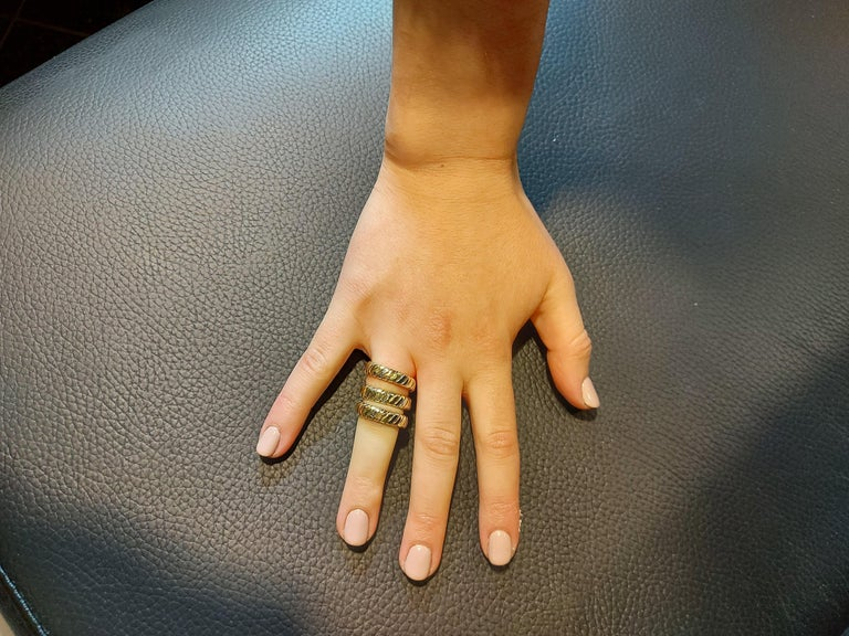 Bvlgari Bulgari Tubogas 18 Karat Yellow White, Rose Gold Flexible Wrap Band Ring For Sale 13