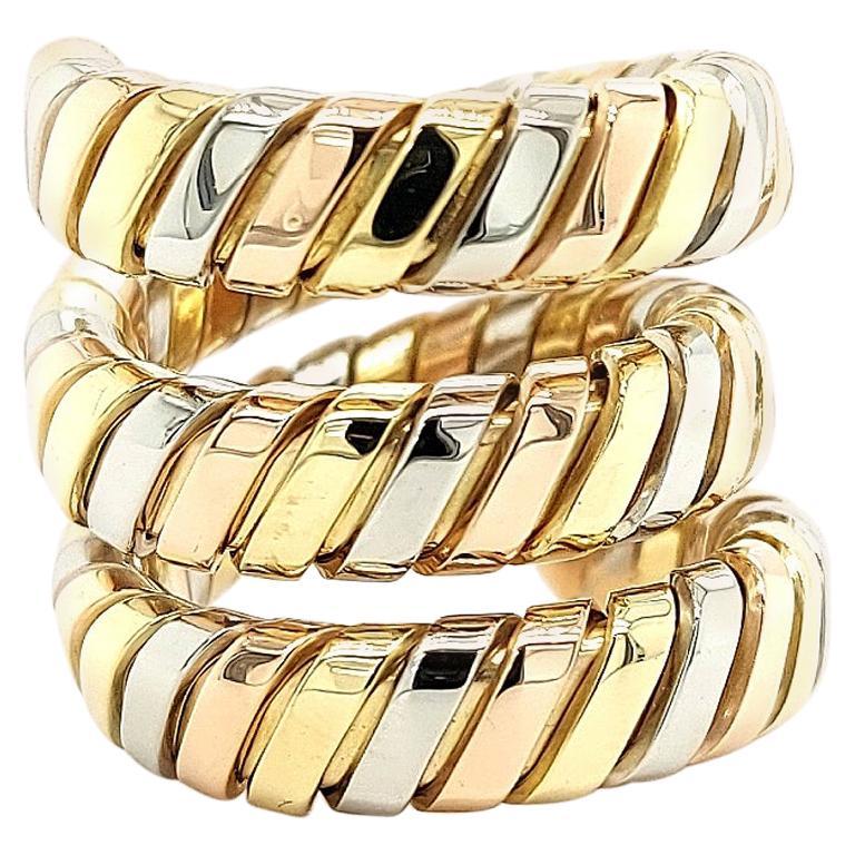 Bvlgari Bulgari Tubogas 18 Karat Yellow White, Rose Gold Flexible Wrap Band Ring For Sale