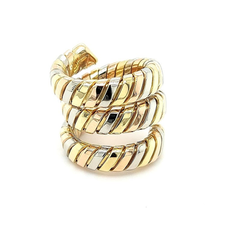 Bvlgari Bulgari Tubogas 18 Karat Yellow White, Rose Gold Flexible Wrap Band Ring For Sale 5