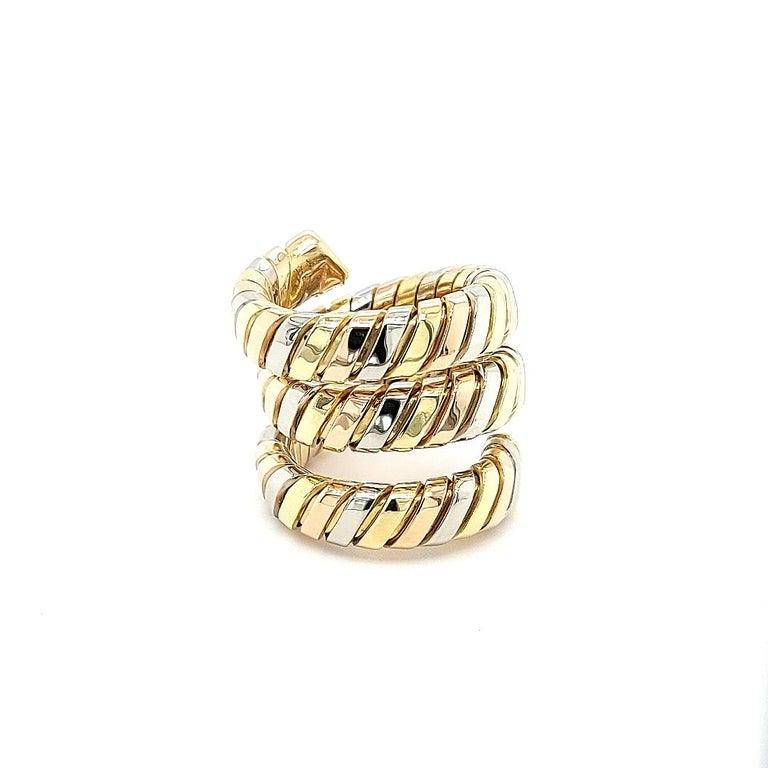 Bvlgari Bulgari Tubogas 18 Karat Yellow White, Rose Gold Flexible Wrap Band Ring For Sale 6