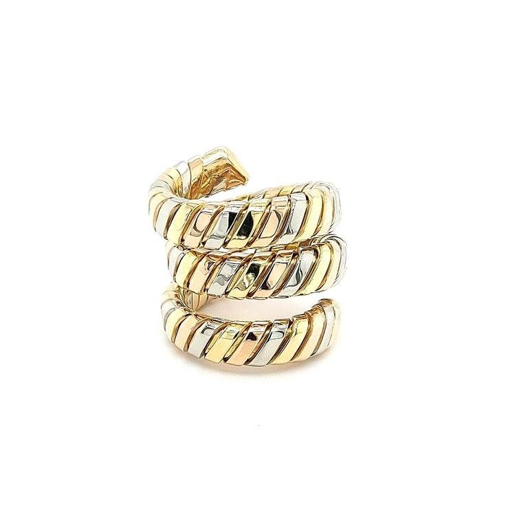 Bvlgari Bulgari Tubogas 18 Karat Yellow White, Rose Gold Flexible Wrap Band Ring For Sale 7