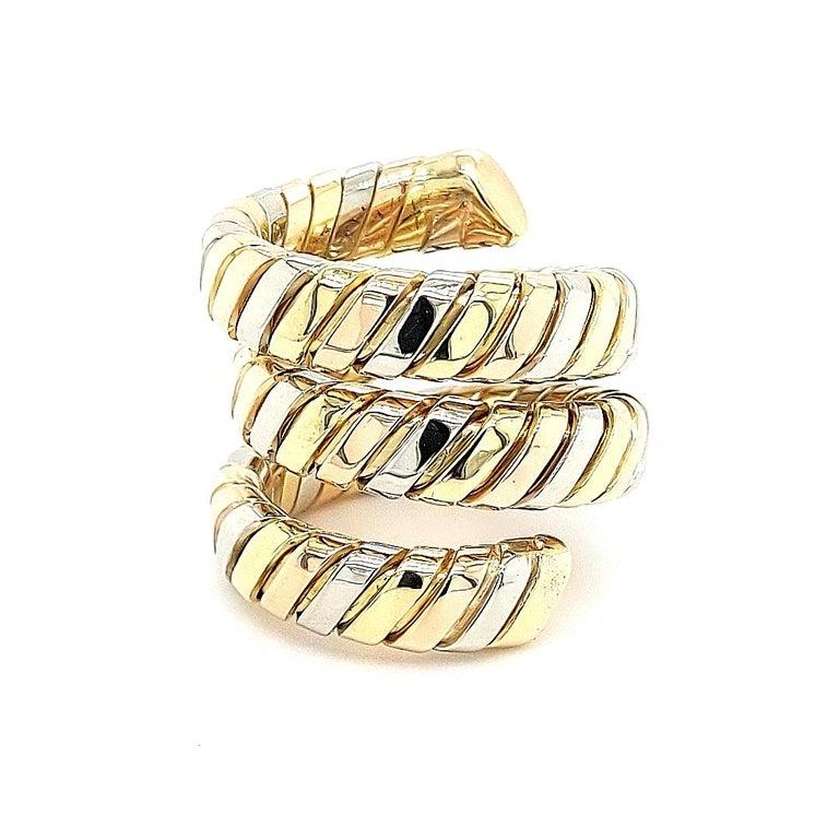 Bvlgari Bulgari Tubogas 18 Karat Yellow White, Rose Gold Flexible Wrap Band Ring For Sale 8
