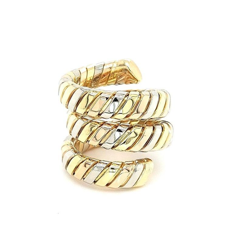 Bvlgari Bulgari Tubogas 18 Karat Yellow White, Rose Gold Flexible Wrap Band Ring For Sale 9