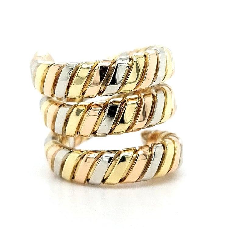 Bvlgari Bulgari Tubogas 18 Karat Yellow White, Rose Gold Flexible Wrap Band Ring For Sale 10