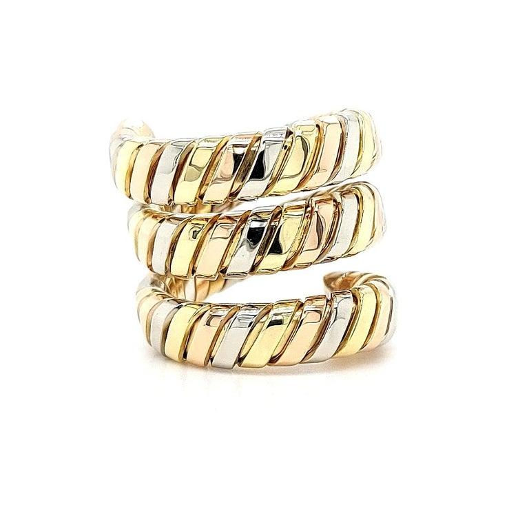 Bvlgari Bulgari Tubogas 18 Karat Yellow White, Rose Gold Flexible Wrap Band Ring For Sale 11