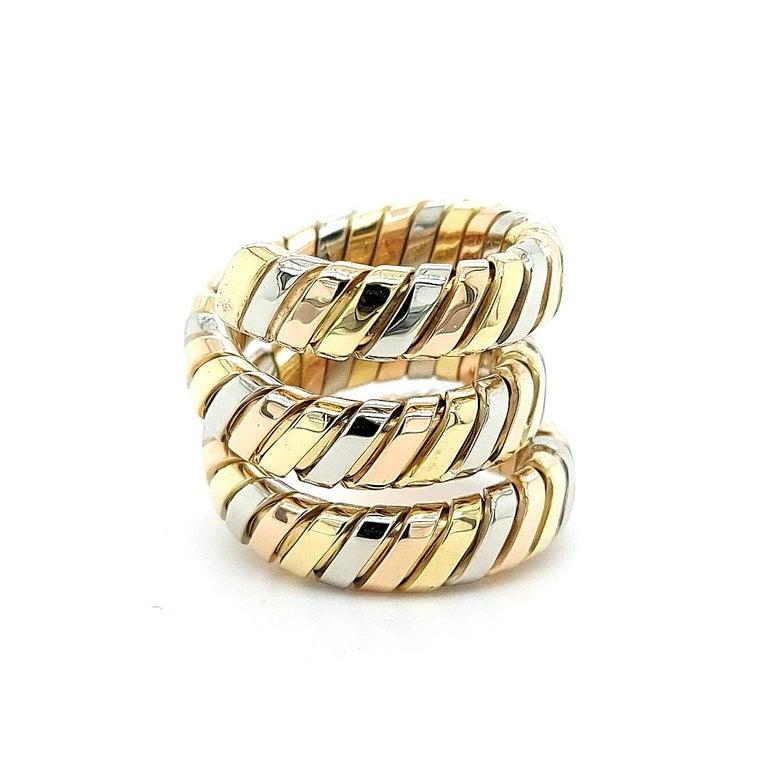 Bvlgari Bulgari Tubogas 18 Karat Yellow White, Rose Gold Flexible Wrap Band Ring For Sale 12