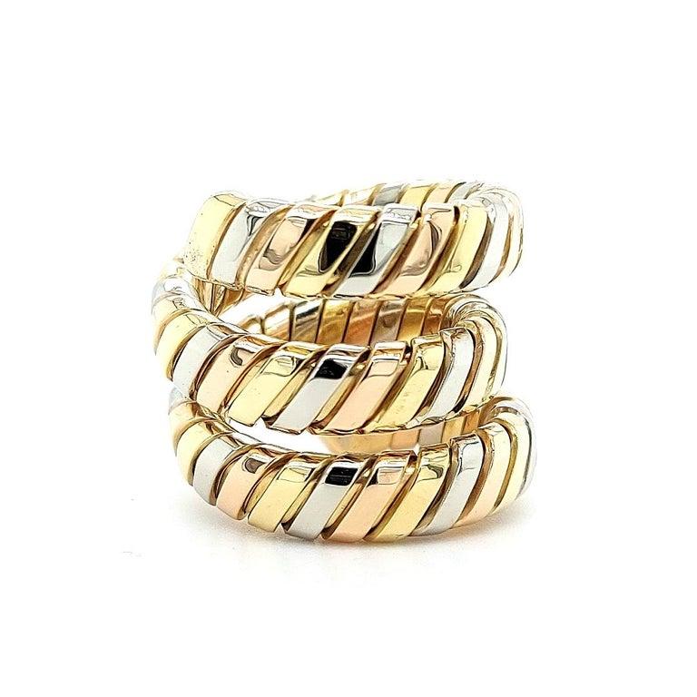 Modern Bvlgari Bulgari Tubogas 18 Karat Yellow White, Rose Gold Flexible Wrap Band Ring For Sale