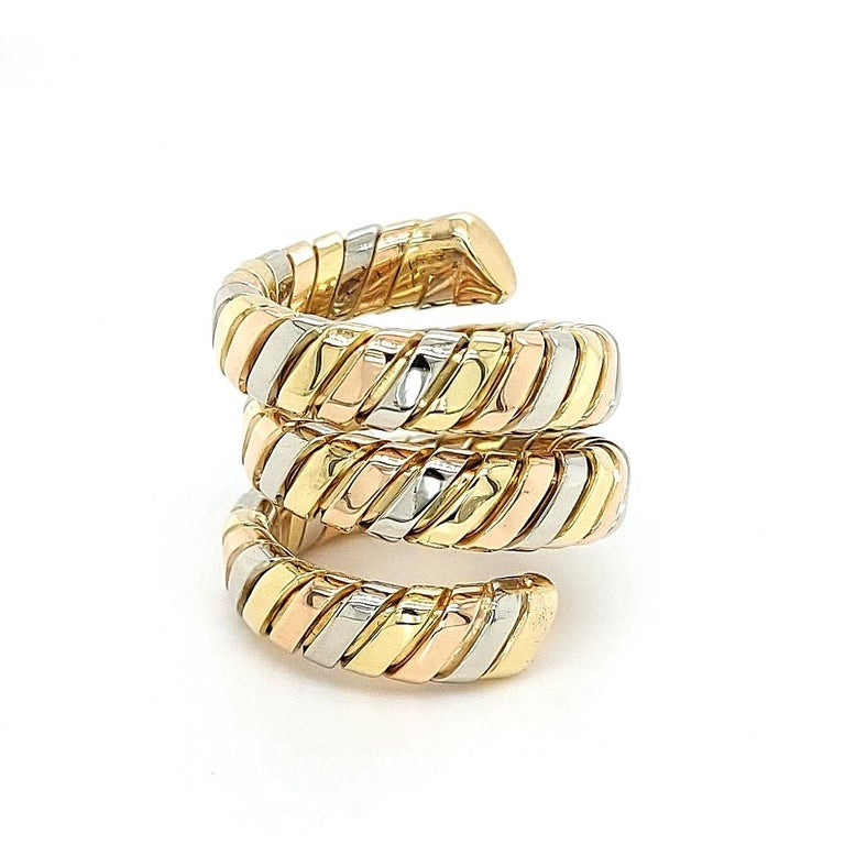 Bvlgari Bulgari Tubogas 18 Karat Yellow White, Rose Gold Flexible Wrap Band Ring In Excellent Condition For Sale In Antwerp, BE