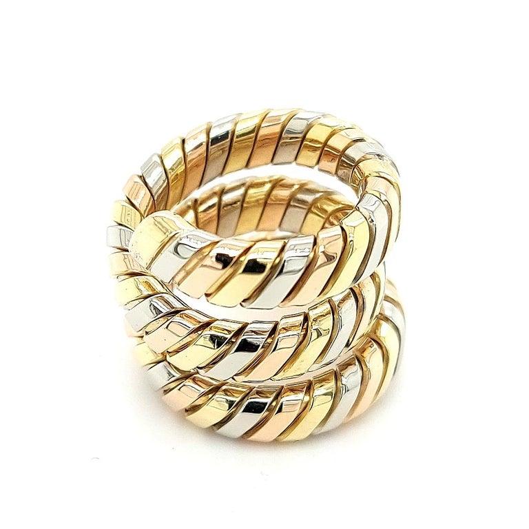 Women's or Men's Bvlgari Bulgari Tubogas 18 Karat Yellow White, Rose Gold Flexible Wrap Band Ring For Sale