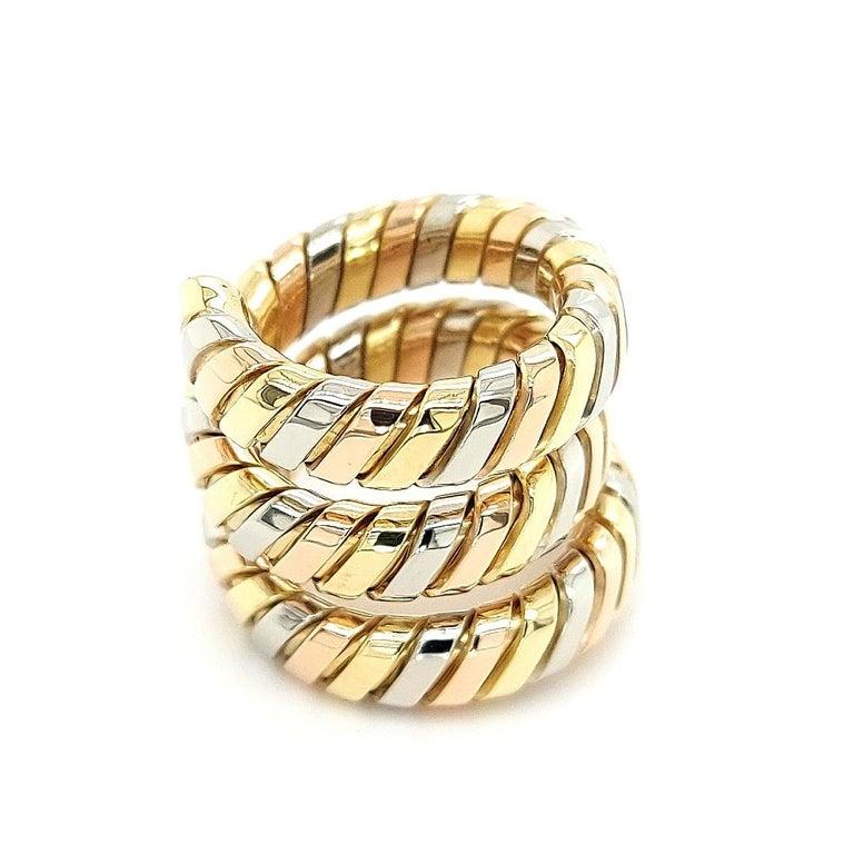 Bvlgari Bulgari Tubogas 18 Karat Yellow White, Rose Gold Flexible Wrap Band Ring For Sale 1