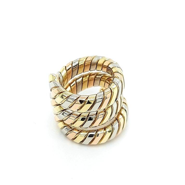 Bvlgari Bulgari Tubogas 18 Karat Yellow White, Rose Gold Flexible Wrap Band Ring For Sale 2