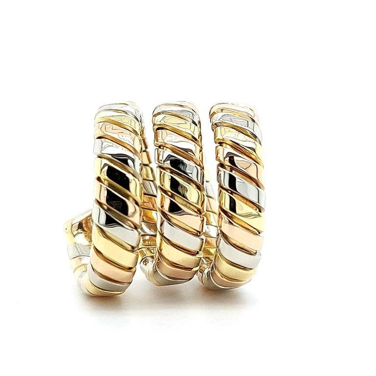 Bvlgari Bulgari Tubogas 18 Karat Yellow White, Rose Gold Flexible Wrap Band Ring For Sale 3