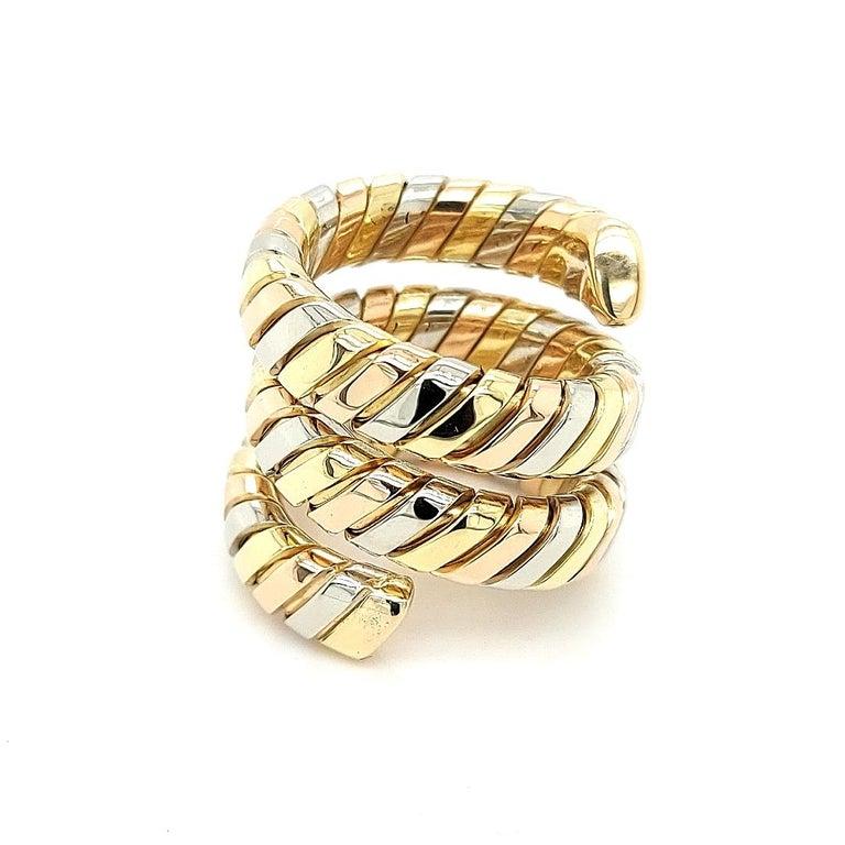 Bvlgari Bulgari Tubogas 18 Karat Yellow White, Rose Gold Flexible Wrap Band Ring For Sale 4