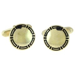 Bvlgari Bulgari Vintage Sterling Silver with Black Enamel Mirror Cufflinks