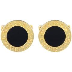 Bvlgari Bvlgari 18 Karat Yellow Gold Onyx Cufflinks