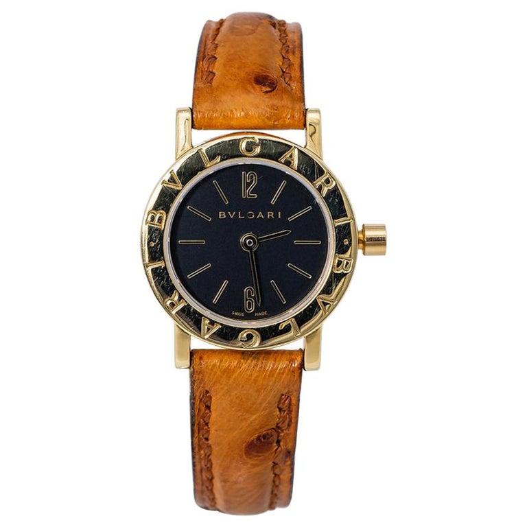 Bvlgari Bvlgari BB23L Quartz Ladies 18 Karat Yellow Gold Watch Black Dial For Sale