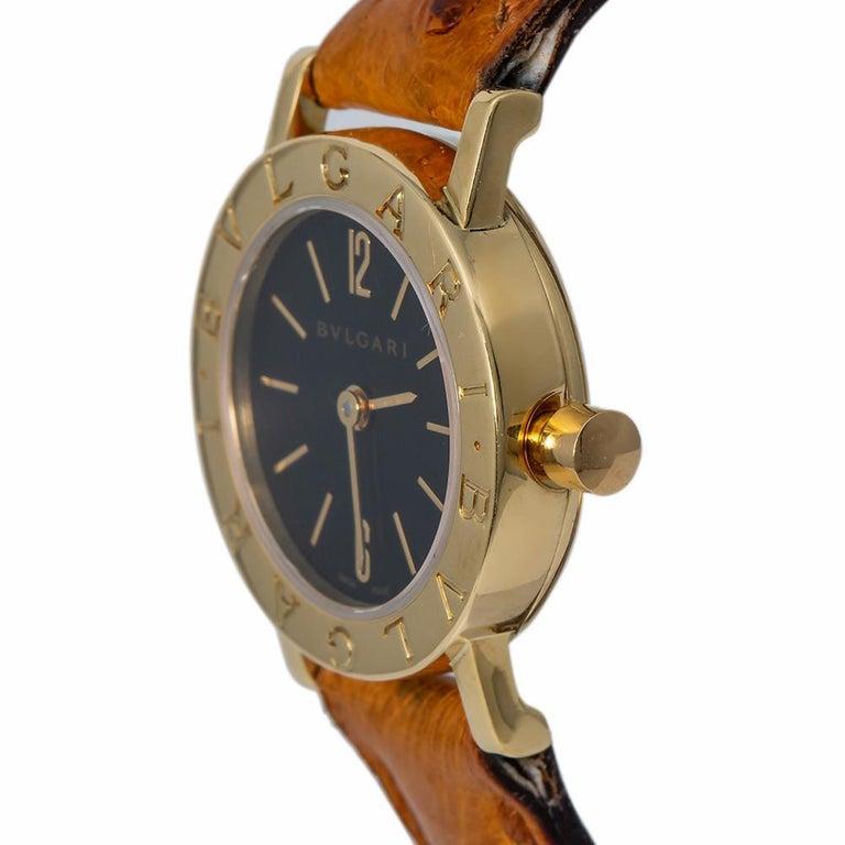 Modern Bvlgari Bvlgari BB23L Quartz Ladies 18 Karat Yellow Gold Watch Black Dial For Sale