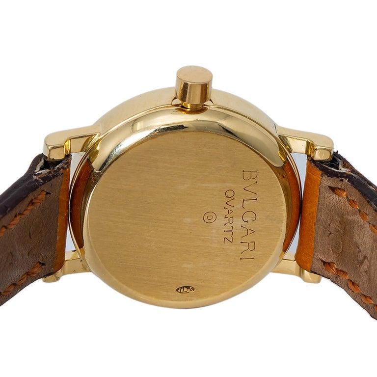 Bvlgari Bvlgari BB23L Quartz Ladies 18 Karat Yellow Gold Watch Black Dial In Excellent Condition For Sale In Miami, FL