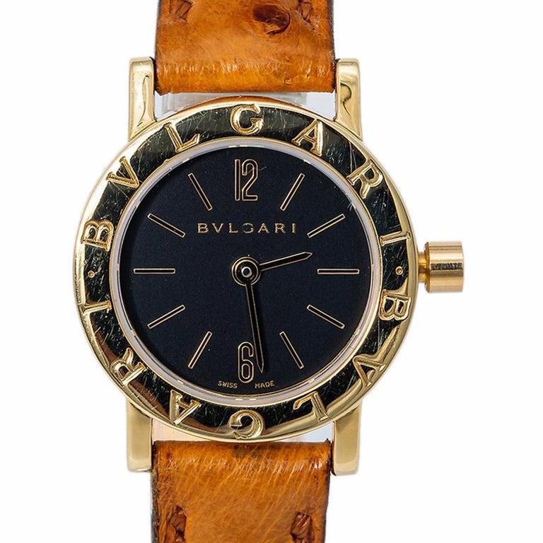 Women's Bvlgari Bvlgari BB23L Quartz Ladies 18 Karat Yellow Gold Watch Black Dial For Sale