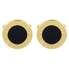 """Bvlgari """"Bvlgari Bvlgari"""" 18 Karat Yellow Gold Black Onyx Cufflinks"""
