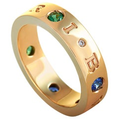 Bvlgari BVLGARI BVLGARI 18K Rose Gold Diamond, Sapphire and Tsavorite Band Ring
