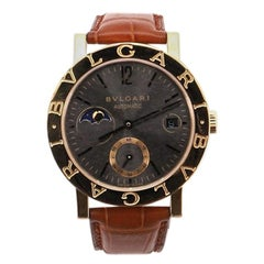Bvlgari Bvlgari Bvlgari Moonphase Automatic Watch Yellow Gold and Alligator 38