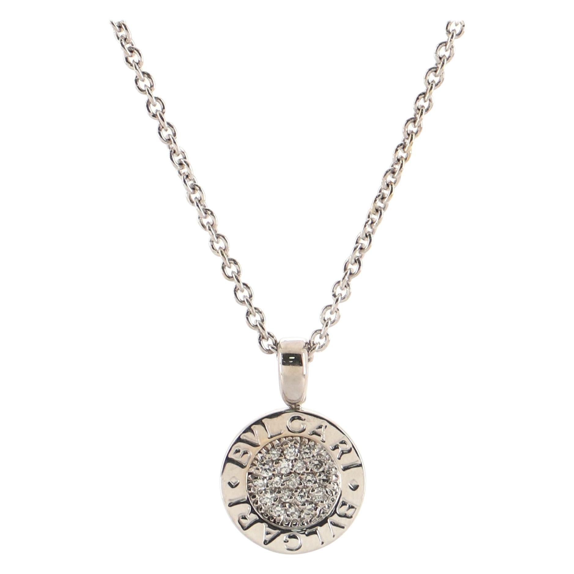Bvlgari Bvlgari Bvlgari Pendant Necklace 18K White Gold with Diamonds