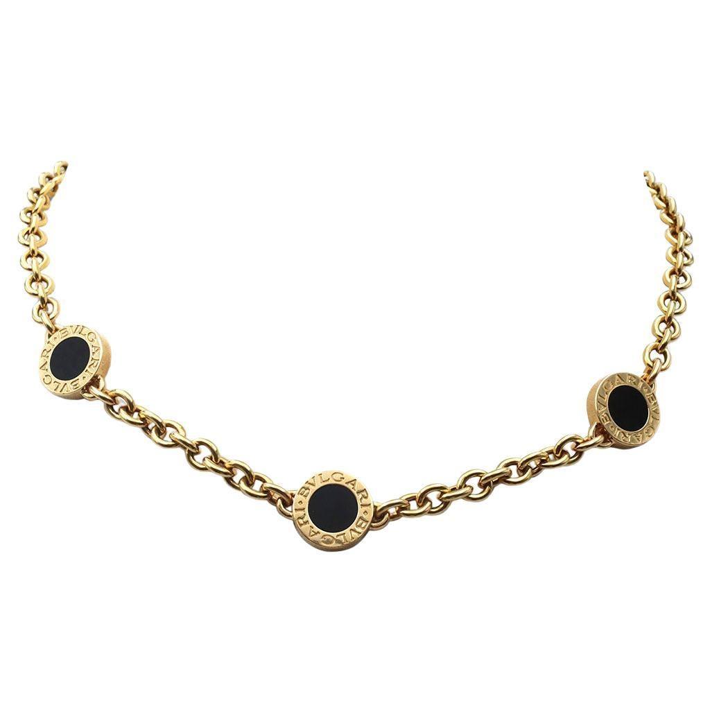 Bvlgari Bvlgari-Bvlgari Yellow Gold and Onyx Station Necklace