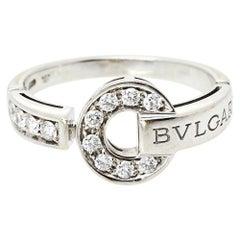 Bvlgari Bvlgari Pave Diamond 18K White Gold Ring Size 60