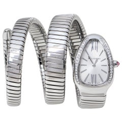 BVLGARI Bvlgari Silver Opaline Stainless Steel Tubogas Women's Wristwatch 35 mm