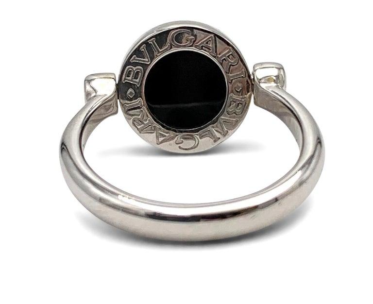 Round Cut Bvlgari Bvlgari White Gold Diamond and Onyx Flip Ring For Sale