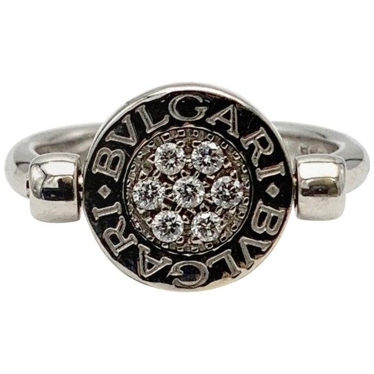 Bvlgari Bvlgari White Gold Diamond and Onyx Flip Ring For Sale