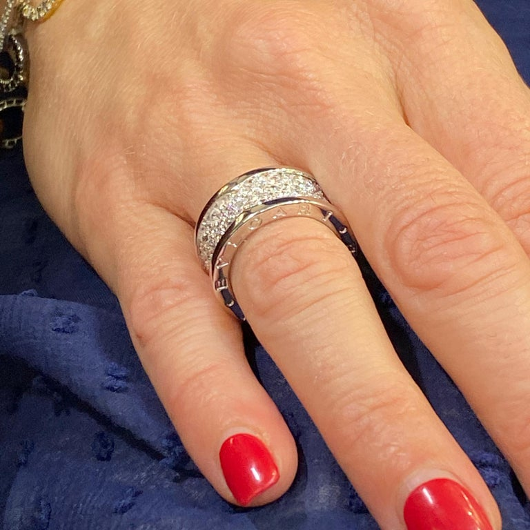 Modern Bvlgari B.Zero 1 Diamond Band 18 Karat White Gold Band Ring For Sale