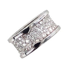 Bvlgari B.Zero 1 Diamond Band 18 Karat White Gold Band Ring