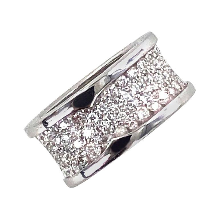 Bvlgari B.Zero 1 Diamond Band 18 Karat White Gold Band Ring For Sale