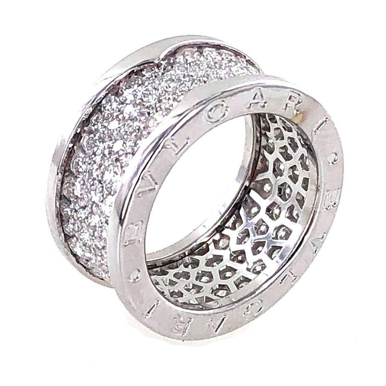 Round Cut Bvlgari B.Zero 1 Diamond Band 18 Karat White Gold Band Ring For Sale