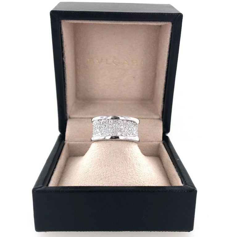 Bvlgari B.Zero 1 Diamond Band 18 Karat White Gold Band Ring In Excellent Condition For Sale In Boca Raton, FL