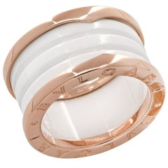 Bvlgari B.Zero 1 Rose Gold and White Ceramic Ring