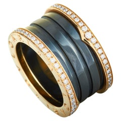 Bvlgari B.zero1 18 Karat Rose Gold and Black Ceramic Diamond Pave 4-Band Ring