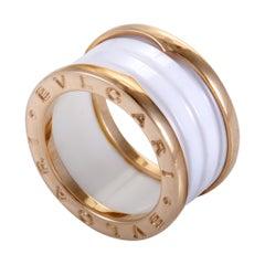 Bvlgari B.Zero1 18 Karat Rose Gold White Ceramic 3-Band Ring