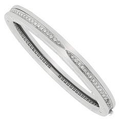 Bvlgari B.Zero1 18 Karat White Gold Diamond Large Size Bangle Bracelet