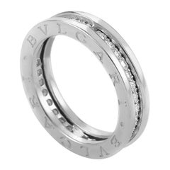 Bvlgari B.Zero1 18 Karat White Gold Full Diamond Pave One-Band Ring