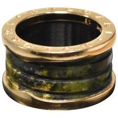 Bvlgari B.zero1 18 Karat Rose Gold Green Marble 4-Band Ring