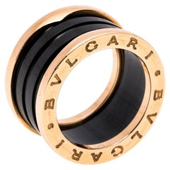 Bvlgari B.Zero1 4-Band Black Ceramic 18K Rose Gold Band Ring Size 51