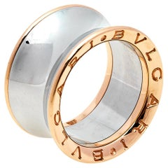 Bvlgari B.Zero1 Anish Kapoor 18K Rose Gold & Steel Band Ring Size 53