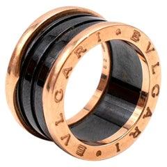 Bvlgari B.Zero1 Black and Rose Gold Enamel Ring - Size 52