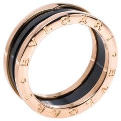Bvlgari B.Zero1 Black Ceramic 18K Rose Gold 2-Band Ring Size 62